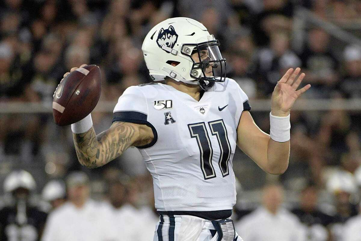 UConn quarterback Jack Zergiotis throws a pass during the first half against Central Florida in 2019.