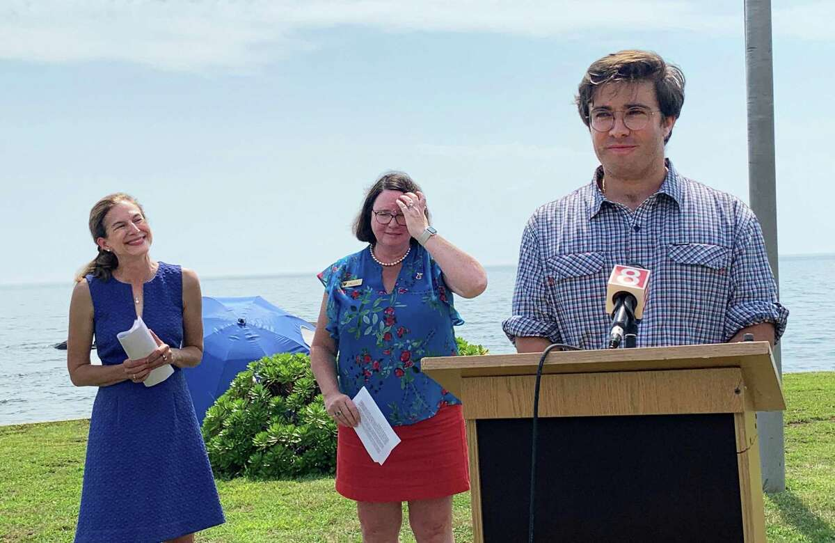 From left, Lt. Gov. Susan Bysiewicz was joined by Madison First Selectwoman Peggy Lyons and state Rep. John-Michael Parker, D-Madison, Friday to announce the release of state funding for coastal resilience and restoration at Garvan Point Beach.