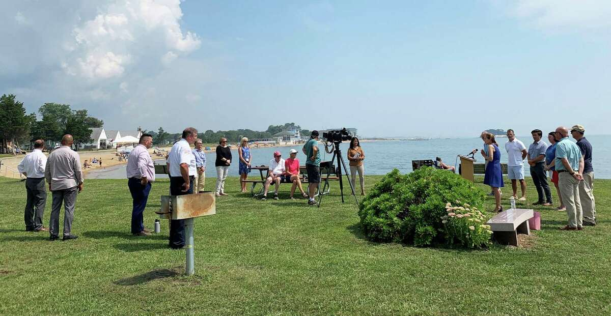 Lt. Gov. Susan Bysiewicz was joined by Madison First Selectwoman Peggy Lyons, state Rep. John-Michael Parker, D-Madison, and other officials Friday to announce the release of state funding for coastal resilience and restoration at Garvan Point Beach.