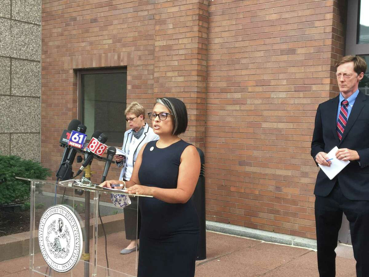 Director of Health Maritza Bond on Aug. 27, 2021 discussed a COVID-19 vaccine or testing mandate for 2,000 city employees. With her are are Mayor Justin Elicker, right, who announced the mandate, and Corporation Counsel Patricia King, left.