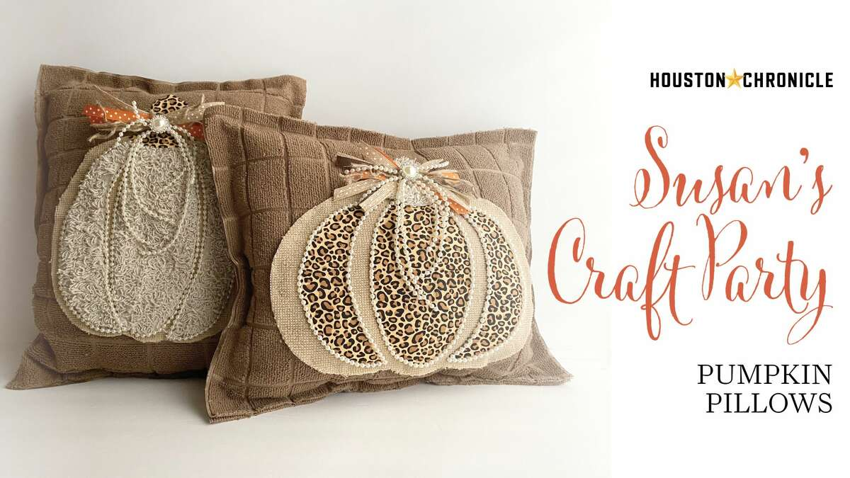 Join Houston Chronicle design director Susan Barber to learn how to make these pumpkin pillows from dollar store dish towels and scrap fabric.