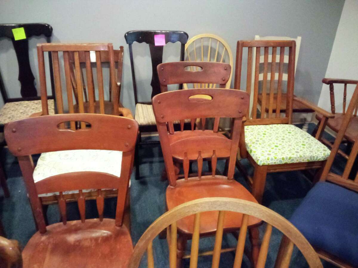 """Friendly Hands Food Bank's next fundraiser is """"A Seat at Our Table,"""" with a live auction of wooden chairs that will be transformed into works of art by November. Artists are still wanted to take a chair home and recreate it for the food bank."""