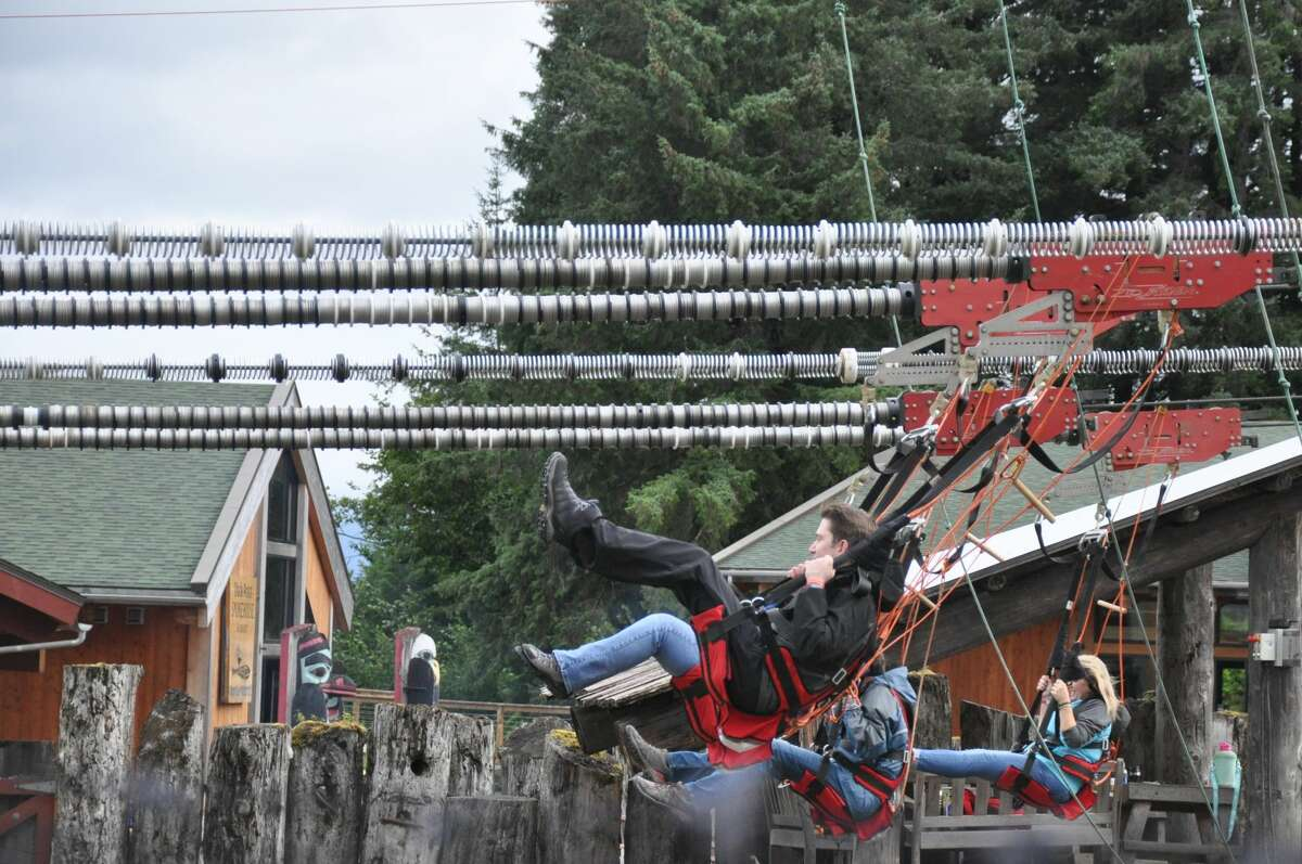 Guests on the zip ride at Icy Strait Point, Alaska