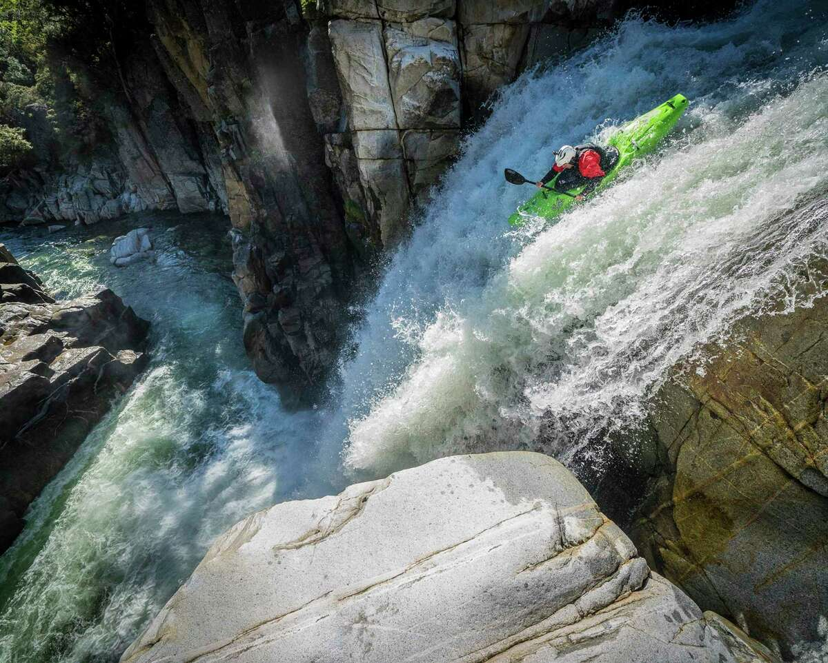 Kayaker Scott Lindgren paddles Royal Gorge on the North Fork of the American River in Northern California.