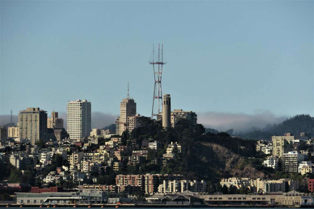 Sutro Tower and Telegraph Hill as seen from Treasure Island on Sept. 1, 2019.