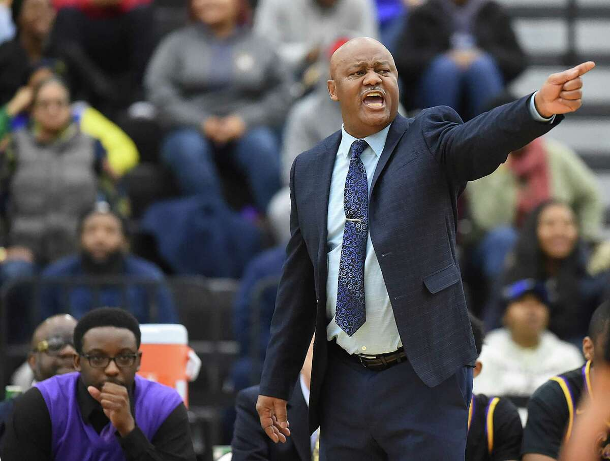 Career head coach Larry S. Kelley, Sr. gives direction from the sidelines against Wilbur Cross, Wednesday, Jan. 17, 2018, at Floyd Little Athletic Center in New Haven. Wilbur Cross won, 57-50.