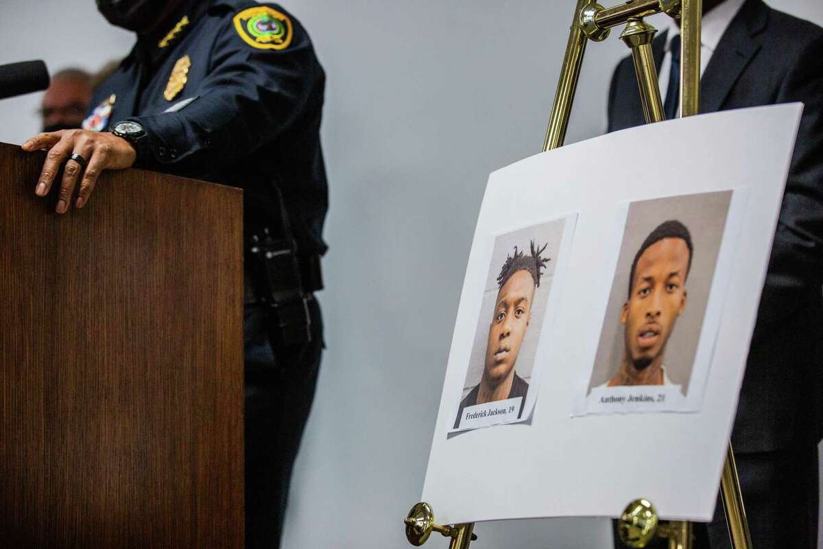 Photos of Frederick Jackson and Anthony Jenkins who are allegedly connected to the murder of off-duty New Orleans Police officer Everett Briscoe, Friday, Aug. 27, 2021, in Houston.