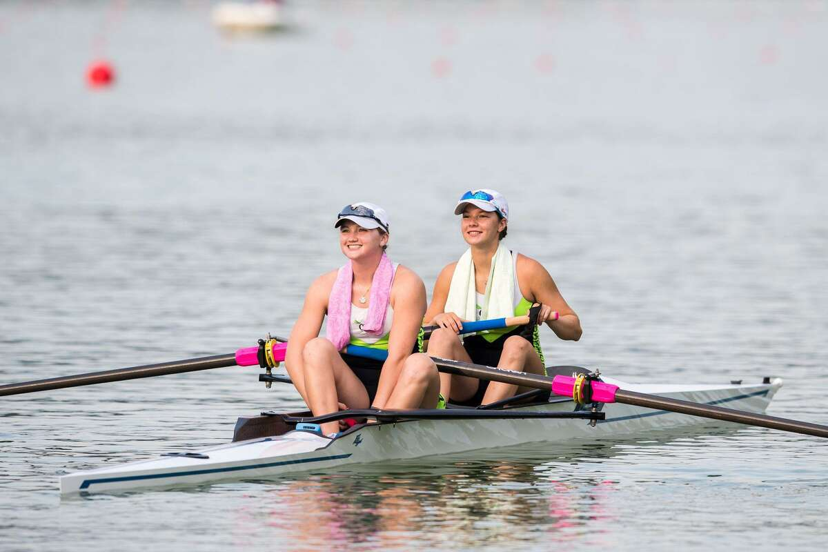 Sophia Greco (back) competed at the 2021 World Rowing Junior Championships with her pairs partner Bridget Galloway from Ridgefield. The two girls compete for the Connecticut Boat Club, located in Norwalk.