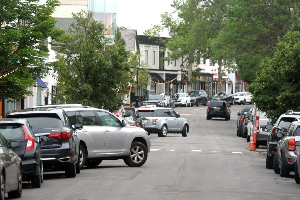 The view looking north along Main St., in Westport, Conn. July 13, 2021.