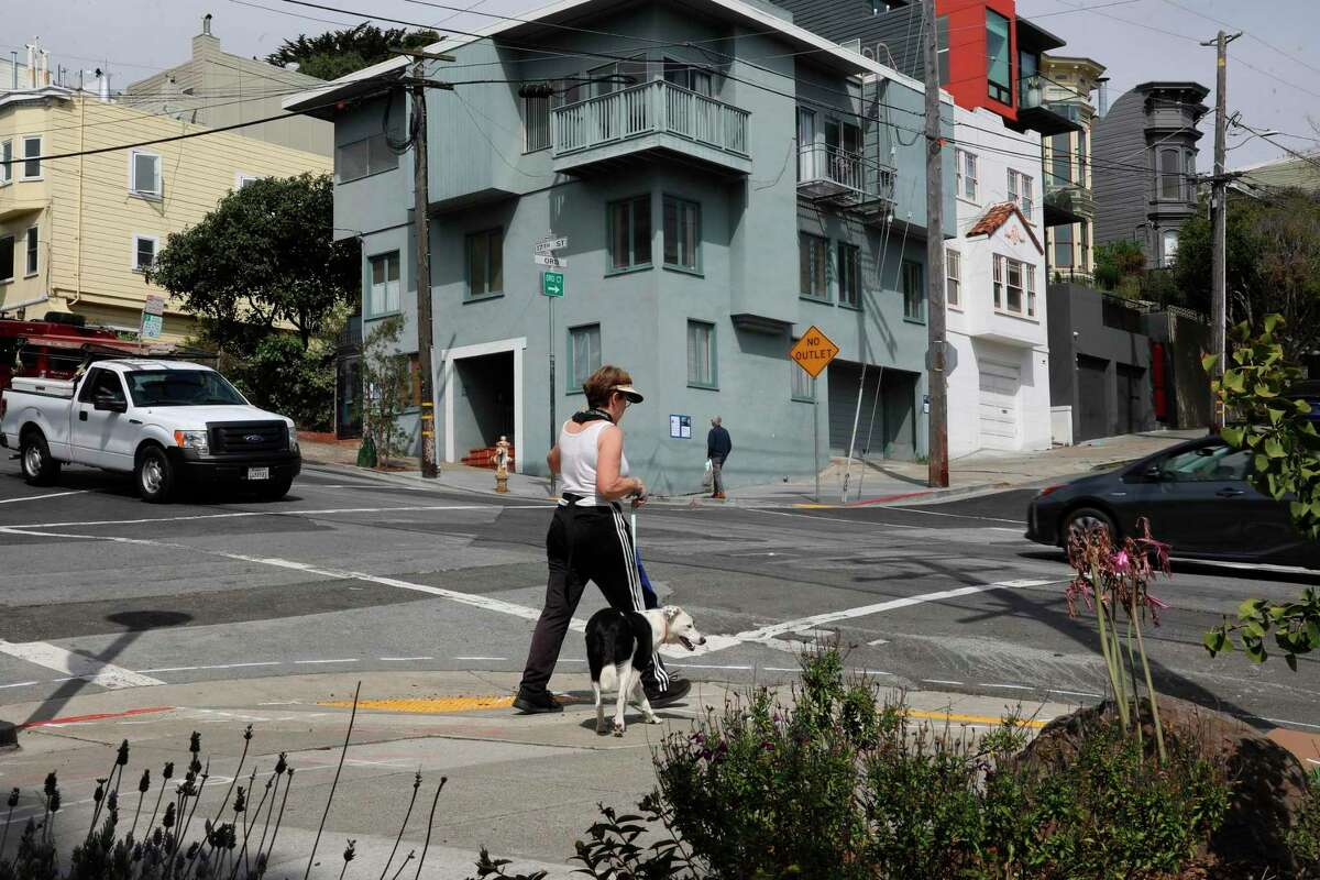 A view of Scott Pluta and his wife Rosalind Pluta's property in the 4000th block of 17th St. on Wednesday, August 25, 2021, in San Francisco, Calif. The couple owns a large lot in San Francisco and is keenly aware of the city's housing crisis. Scott Pluta has been trying for two years to get city permission to build four small units on the lot and has made almost no headway. He down-scaled the project and will go before the planning commission yet again in September.
