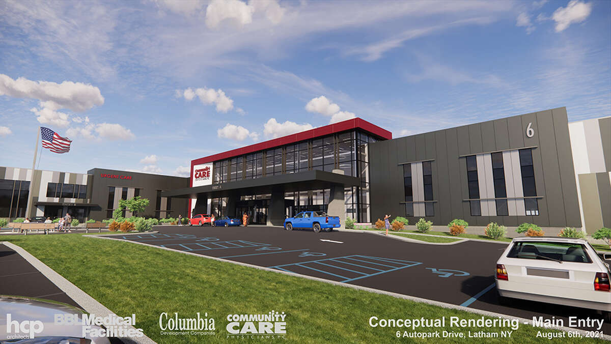 The future health park housing Community Care Physicians off Route 9 in Colonie will be visible from the Northway and accessible by car and public transportation. CCP plans to move into the building in phases.