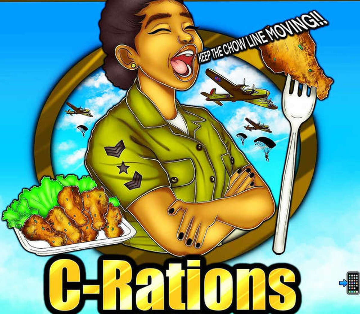 """C-Rations Grub Hub's logo features an original hand-drawn work by Memphis, Tennessee artist Kalunda Smith. C-Rations' owner Christina """"Christy"""" Harvey sought an illustration for her food truck business via Facebook, receiving about 40 responses; Smith was the only artist who did her work by hand, not computer."""
