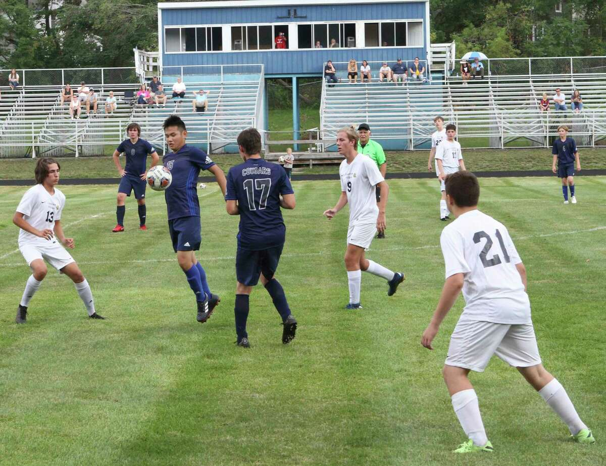 The Crossroads Charter Academy Cougars battled, but fell 8-0 to the Lakeview Wildcats on Friday night. (Pioneer photo/Joe Judd)