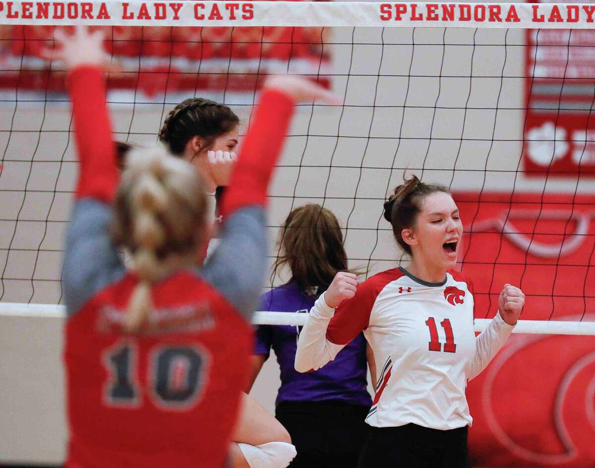 Splendora's Beth Owens (11) reacts after a block in the first set during a non-district high school volleyball match at Splendora High School, Friday, Aug. 20, 2021, in Splendora.