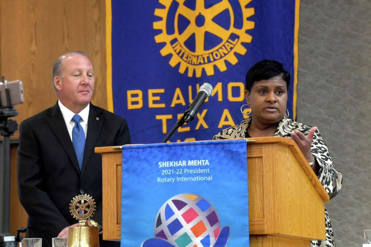 Beaumont Mayor Robin Mouton takes questions after her speech at the weekly Beaumont Rotary Club meeting Wednesday. Photo made Wednesday, August 25, 2021 Kim Brent/The Enterprise
