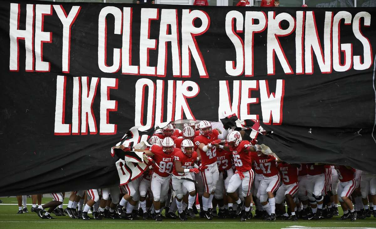 The Katy Tigers take the field to face the Clear Springs Chargers in a high school football game, Friday, Aug. 27, 2021, in Katy.