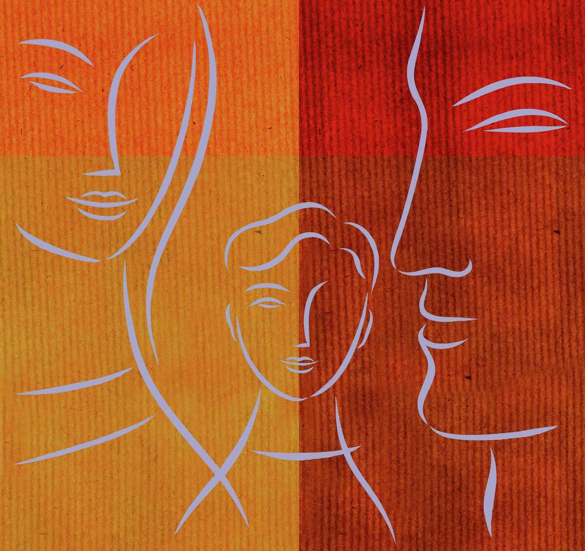 Family illustration: stylized faces on warm-colored corduroy-like material red, orange