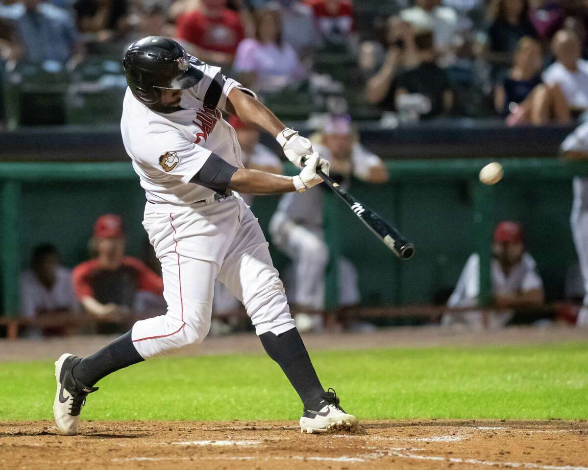Tri-City ValleyCats designated hitter Denis Phipps hits a home run against the Sussex County Miners at the Joseph L. Bruno Stadium on the Hudson Valley Community College campus in Troy, NY, on Friday, Aug. 27, 2021. (Jim Franco/Special to the Times Union)