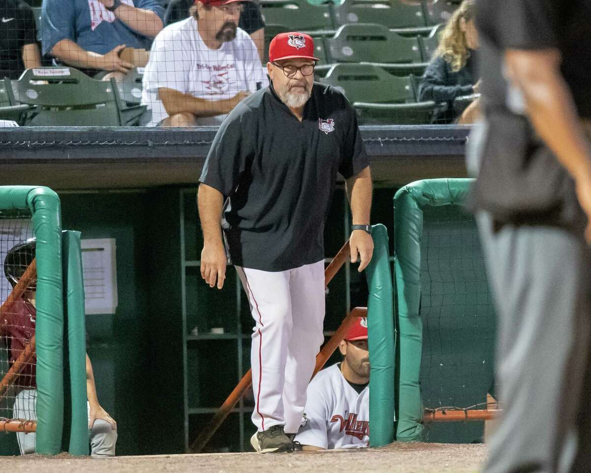 Tri-City ValleyCats manager Pete Incaviglia comes out of the dugout during a game against the Sussex County Miners at the Joseph L. Bruno Stadium on the Hudson Valley Community College campus in Troy, NY, on Friday, Aug. 27, 2021. (Jim Franco/Special to the Times Union)