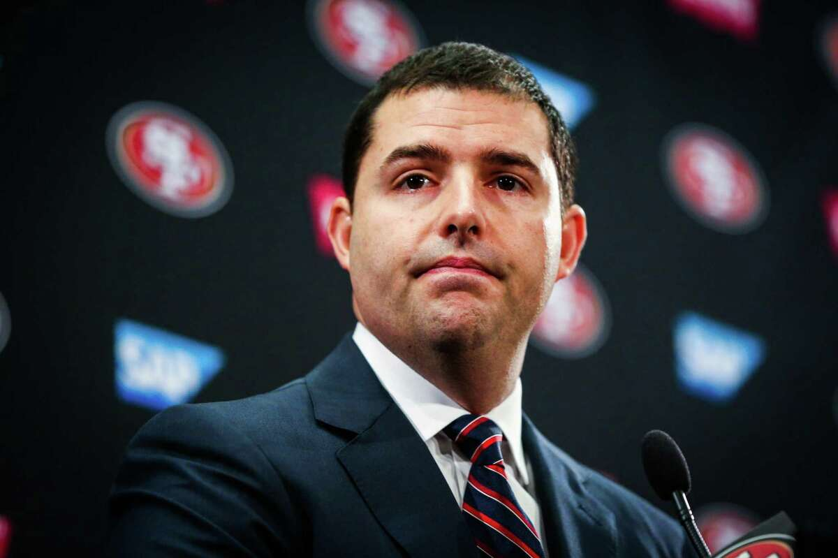 Records show that 49ers CEO Jed York was reffered to speaks at a press conference regarding the firing of both the general manager Trent Baalke and coach Chip Kelly in Santa Clara, Calif., on Monday, Jan. 2, 2017.