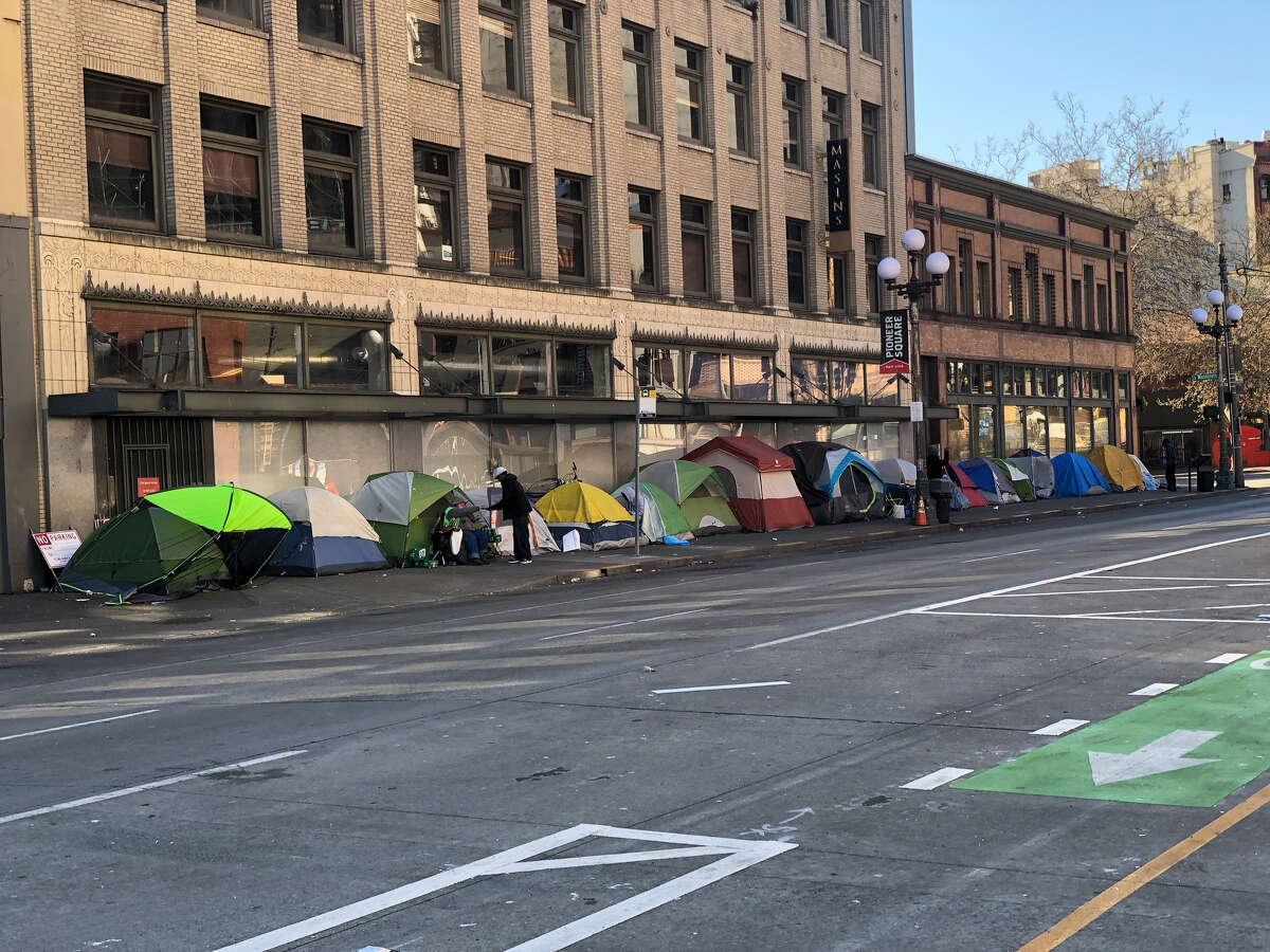 Tents lining the street in downtown Seattle during the COVID-19 shutdown.