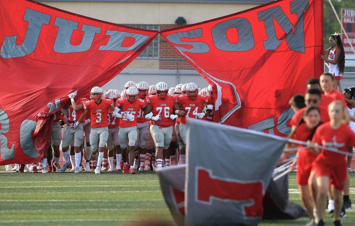 The Judson Rockets football team take the field for the game against DeSoto at Rutledge Stadium on Friday, Aug. 27, 2021.