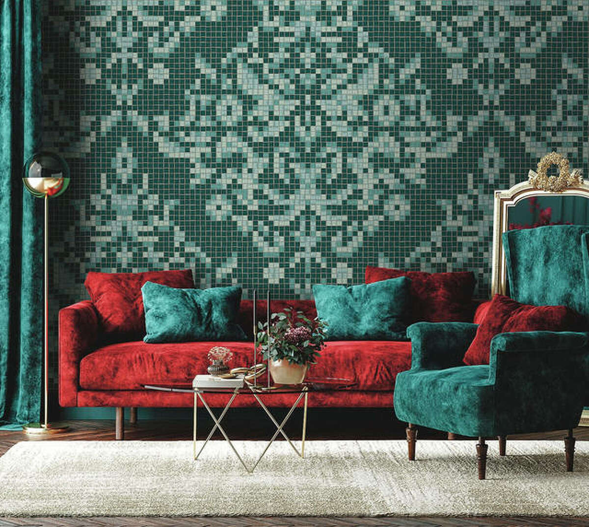 Artaic's Dramati Turquoise from the Ornamental & Damask Collection uses proprietary robotic technology and Tylist software to create custom tile mosaics and preconceived design collections.