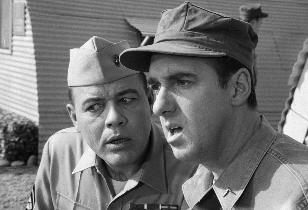 """Frank Sutton as Sgt. Vince Carter, left, and Jim Nabors as Pvt. Gomer Pyle in the episode 'Sgt. Iago', in the CBS television series """"Gomer Pyle, USMC,"""" Jan. 12, 1968. (CBS/Getty Images)"""