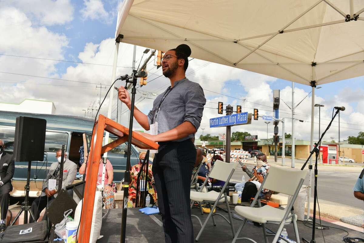 City Councilman Jalen McKee-Rodriquez speaks during Saturday's voting rights rally.