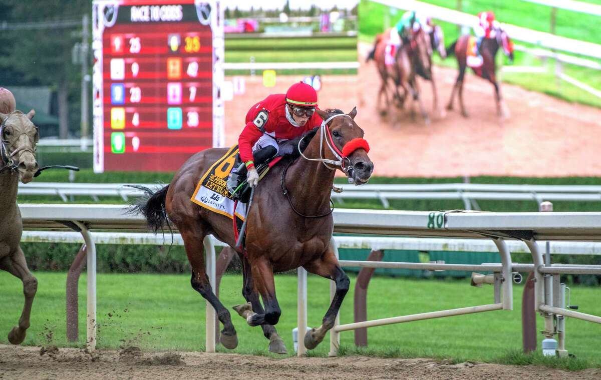 Letruska, with jockey Irad Ortiz Jr., wins the 74th running of the Personal Ensign at Saratoga Race Course on Saturday, Aug. 28, 2021.