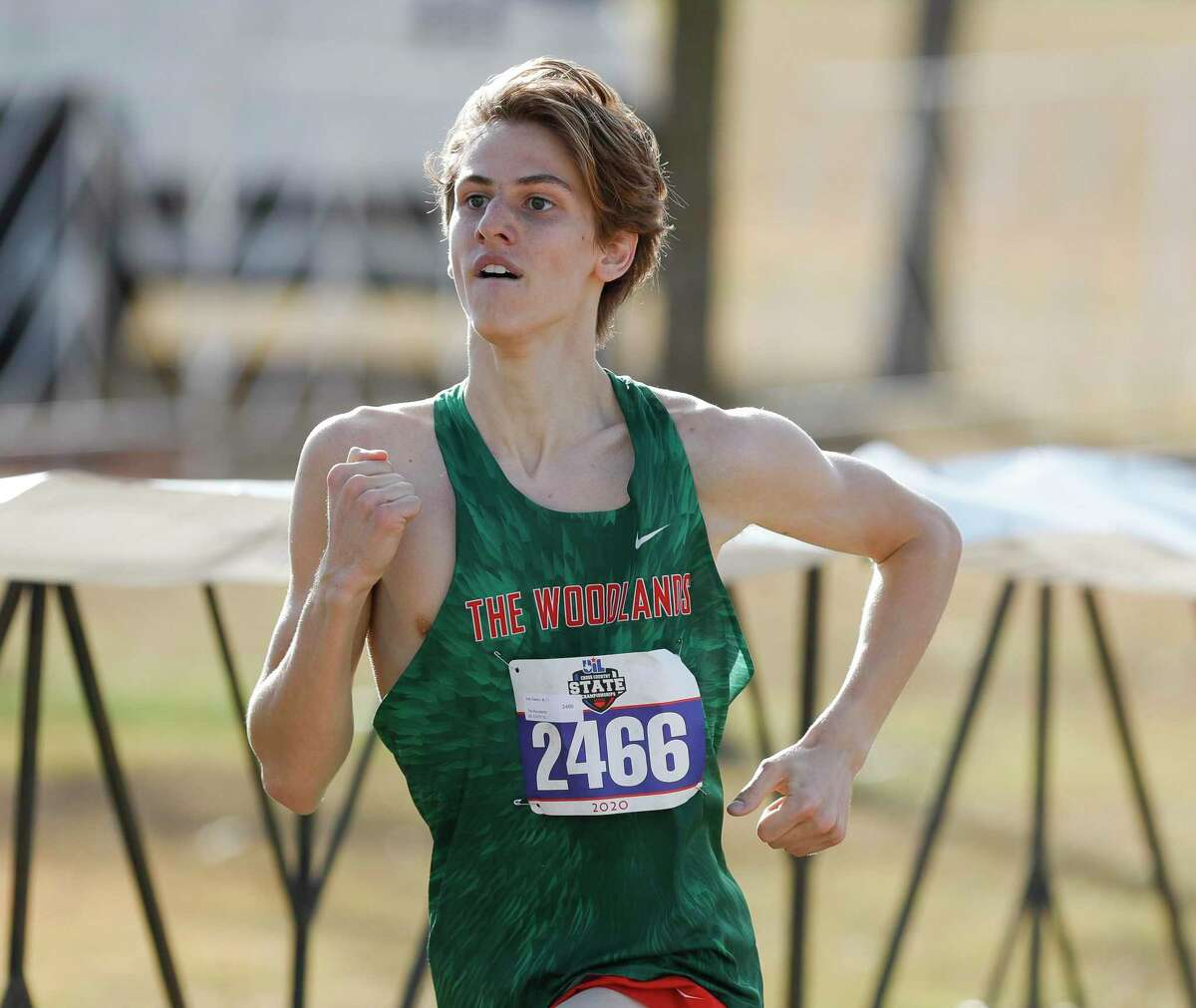 Kyle Easton of The Woodlands, shown here last fall at the state meet, finished fourth place in the boys Varsity A 4,000-meter race at Bear Branch Park on Friday, August 27, 2021.