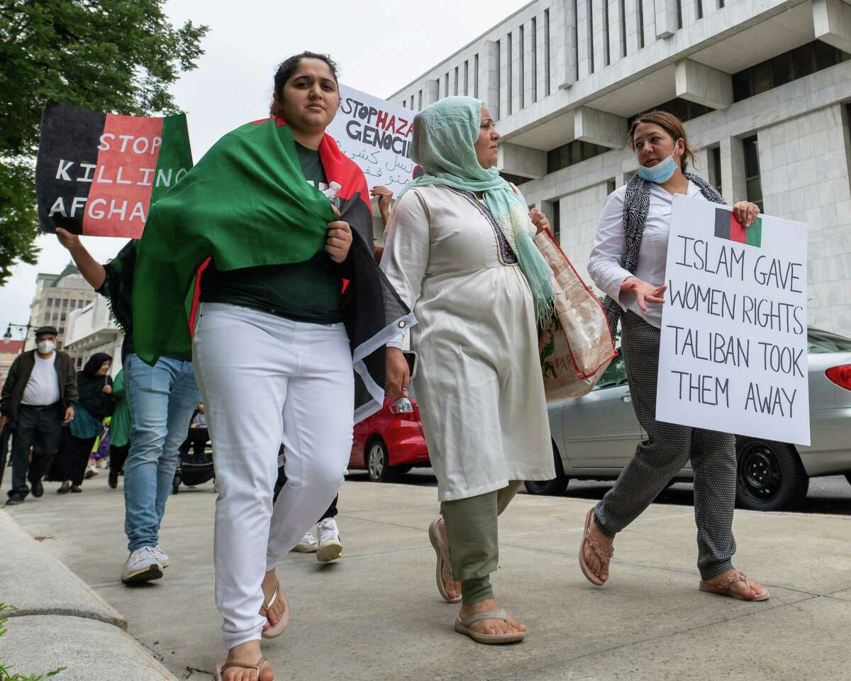 Attendees of a Save Afghanistan rally march around West Capitol Park in Albany, NY, on Saturday, Aug. 28, 2021. (Jim Franco/Special to the Times Union)
