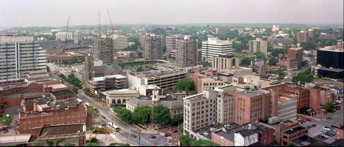 Stamford's city skyline from the Landmark Club in the Landmark building in Stamford in June 1996.