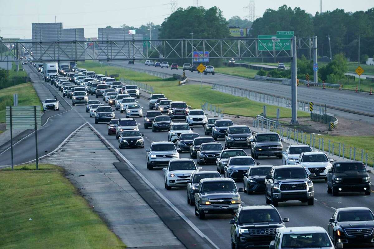 Heavy traffic clogs Interstate 10 out of New Orleans as residents and visitors evacuate for the expected arrival of Hurricane Ida Saturday, Aug. 28, 2021, in Slidell, La. (AP Photo/Steve Helber)