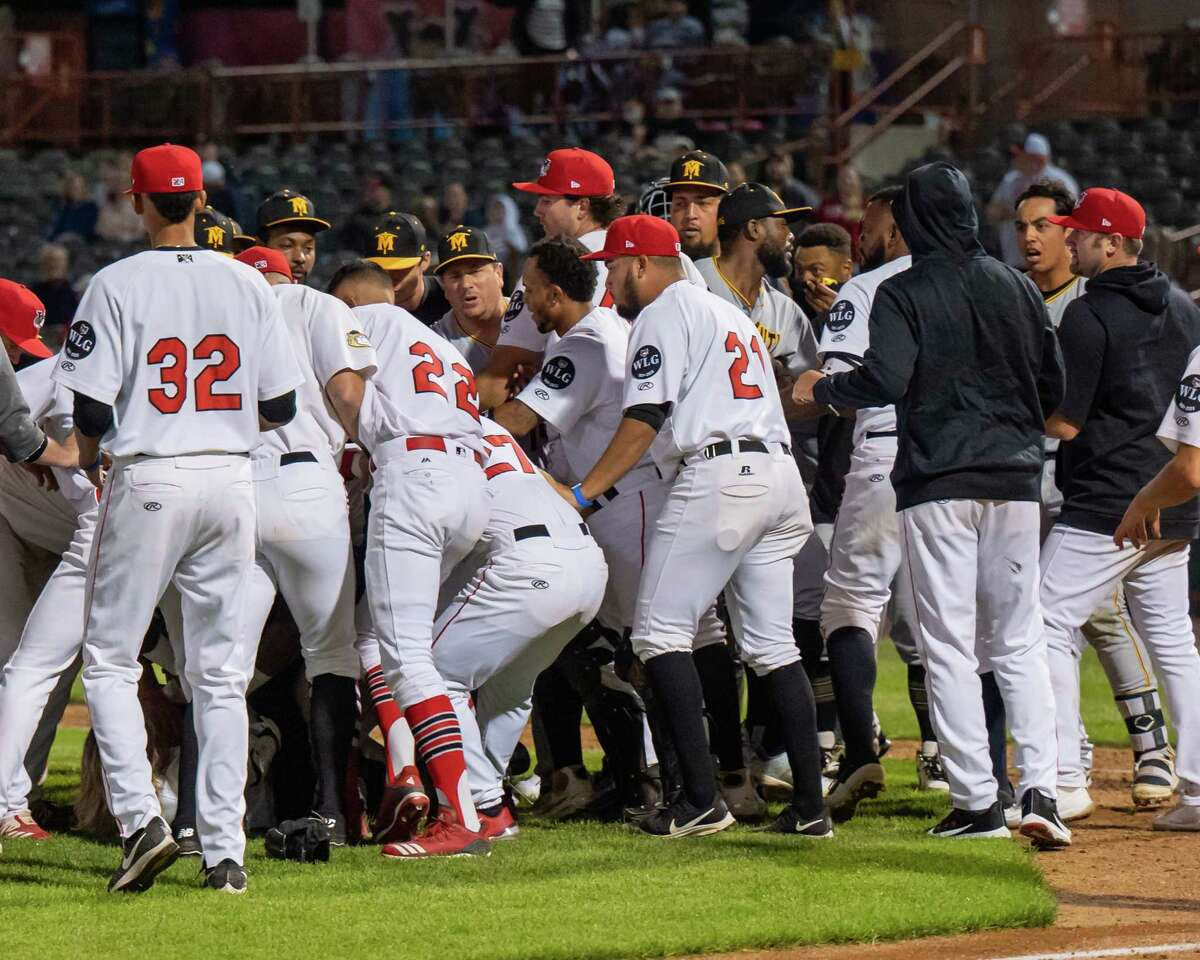 The Tri-City ValleyCats and Sussex County Miners benches cleared for the second night in a row at the Joseph L. Bruno Stadium on the Hudson Valley Community College campus in Troy, NY, on Saturday, Aug. 28, 2021. (Jim Franco/Special to the Times Union)