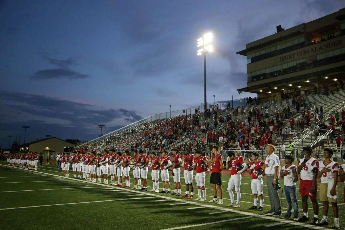 Lee stands during the colors after an 1 hour and 20 delay took place due to lighting on Saturday, Aug. 28, 2021 at Comalander Stadium.