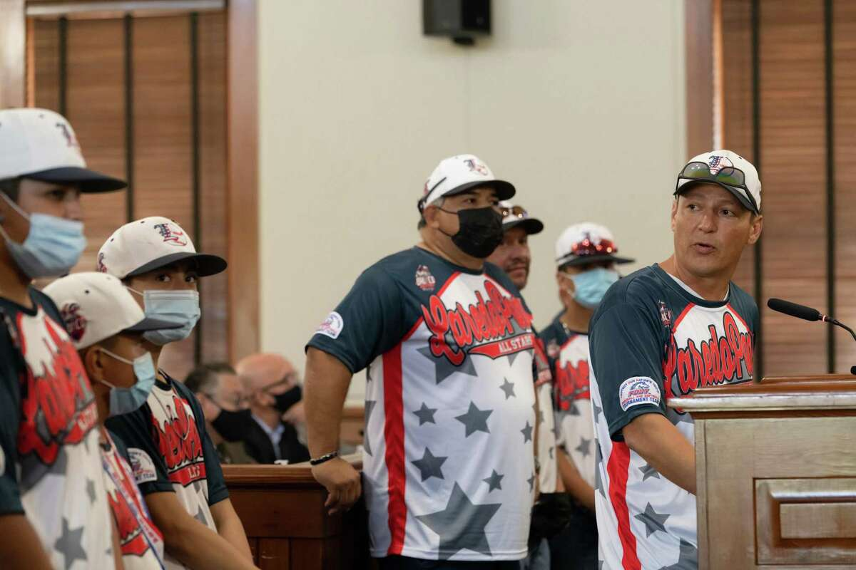 Joey Tellez, PONY League 12U Division assistant coach, gives a play-by-play of the series and highlights the players' contributions and accolades during the Aug. 23 Commissioners Court meeting.