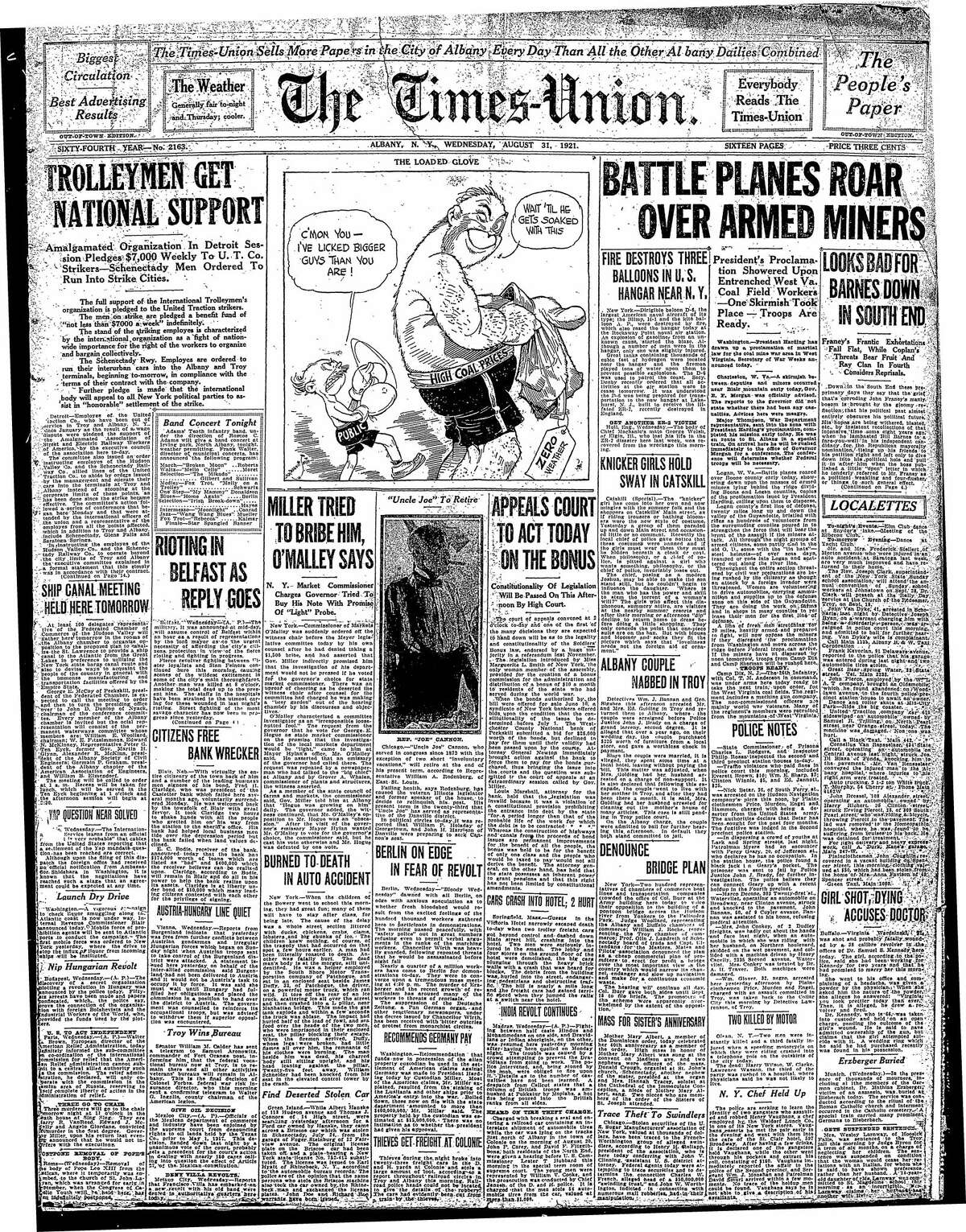 Front page of the Times Union from Aug. 31, 1921.