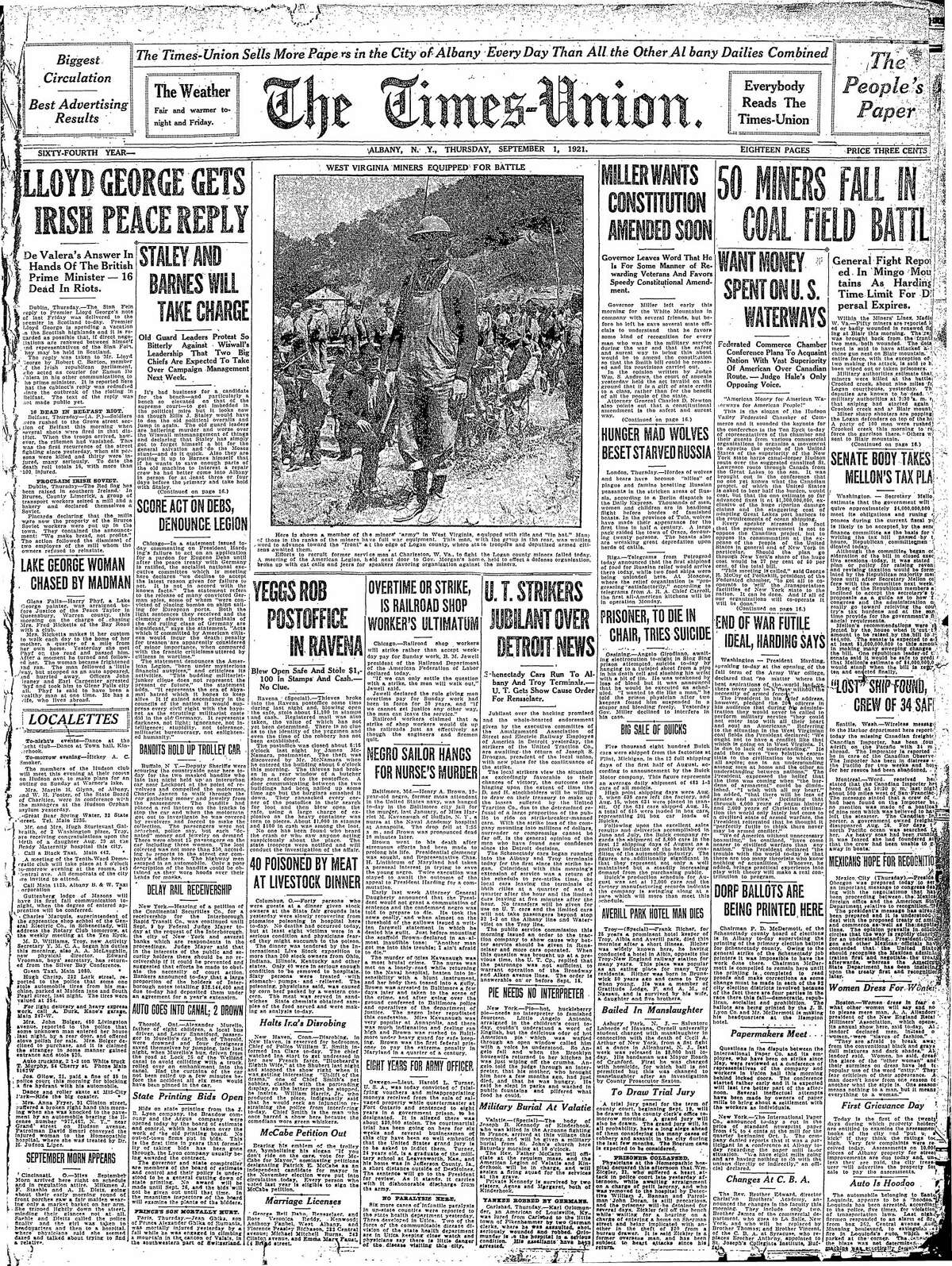 Front page of the Times Union from Sept. 1, 1921.