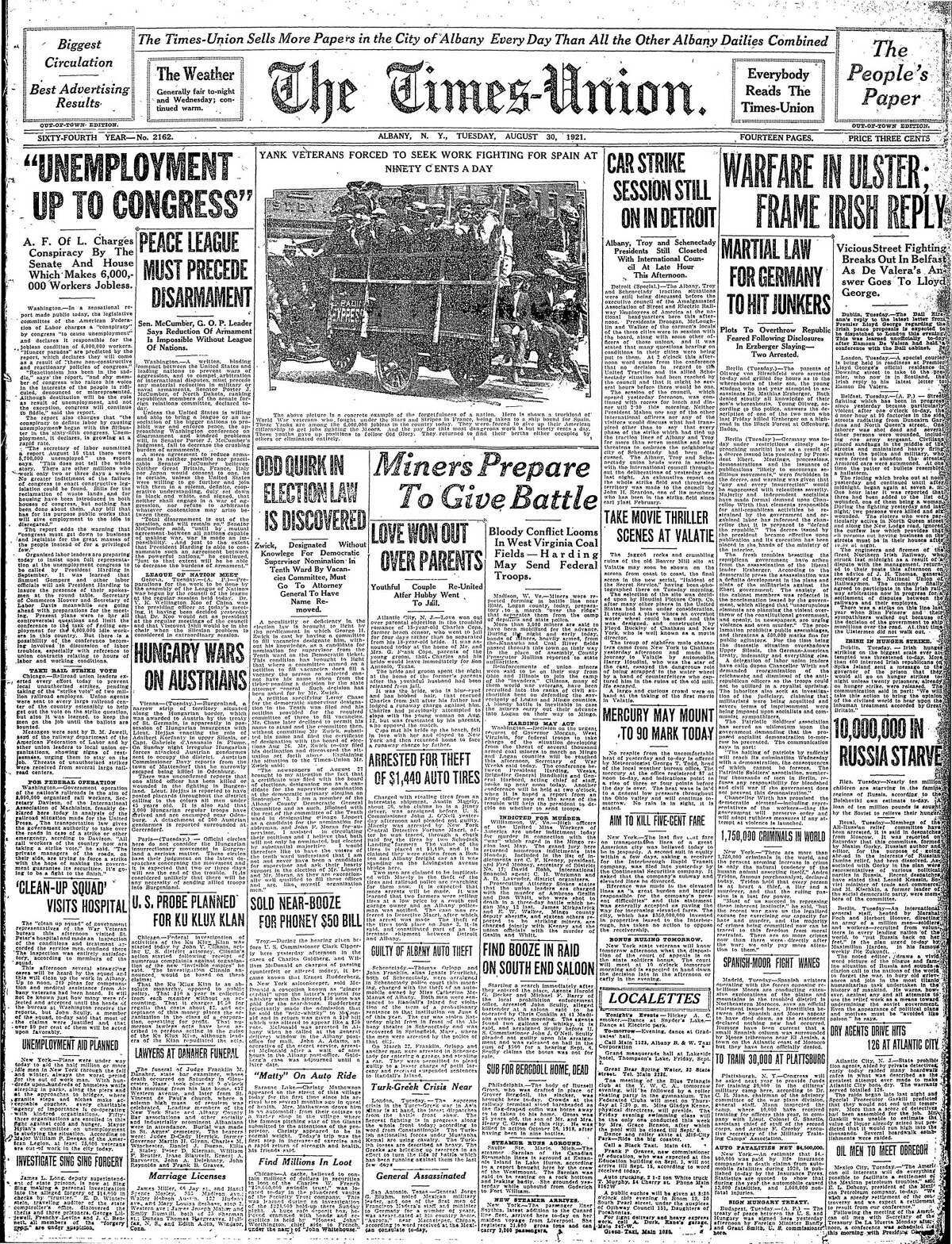 Front page of the Times Union from Aug. 30, 1921.