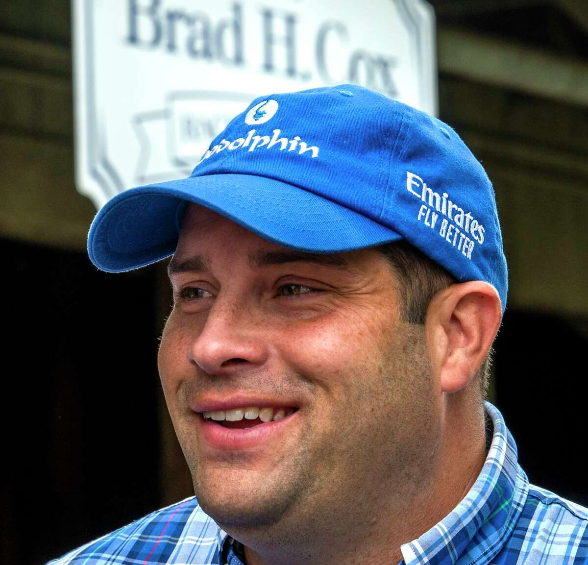 Essential Quality?•s trainer Brad Cox speaks to the media the morning after his victory in the 152nd Runhappy Travers States at the Saratoga Race Course Sunday Aug 29, 2021 in Saratoga Springs, N.Y. Special to the Times Union Photo Special to the Times Union by Skip Dickstein