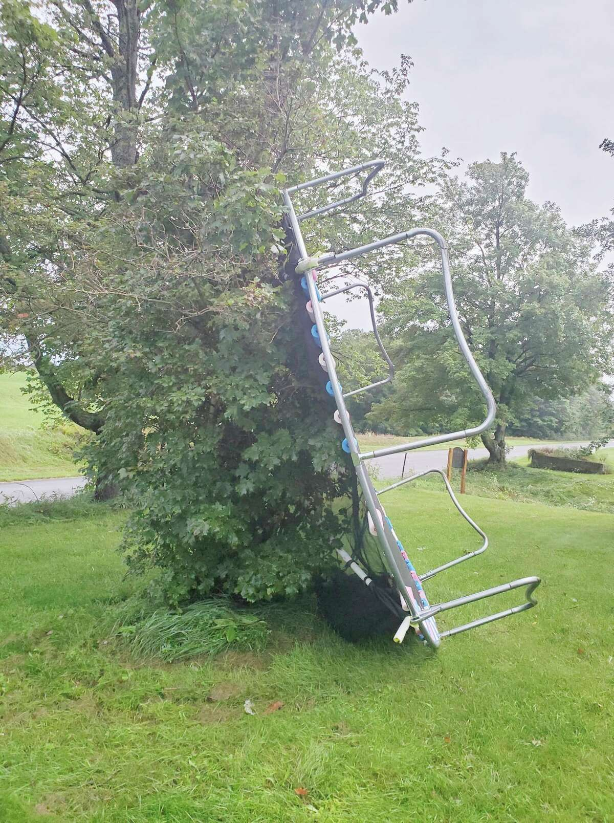 Maria Gervers shared this photo on the News Advocate's Facebook page of a trampoline blown over during a series of storms early on Saturday morning in Brown Township. (Courtesy photo/Maria Gervers)