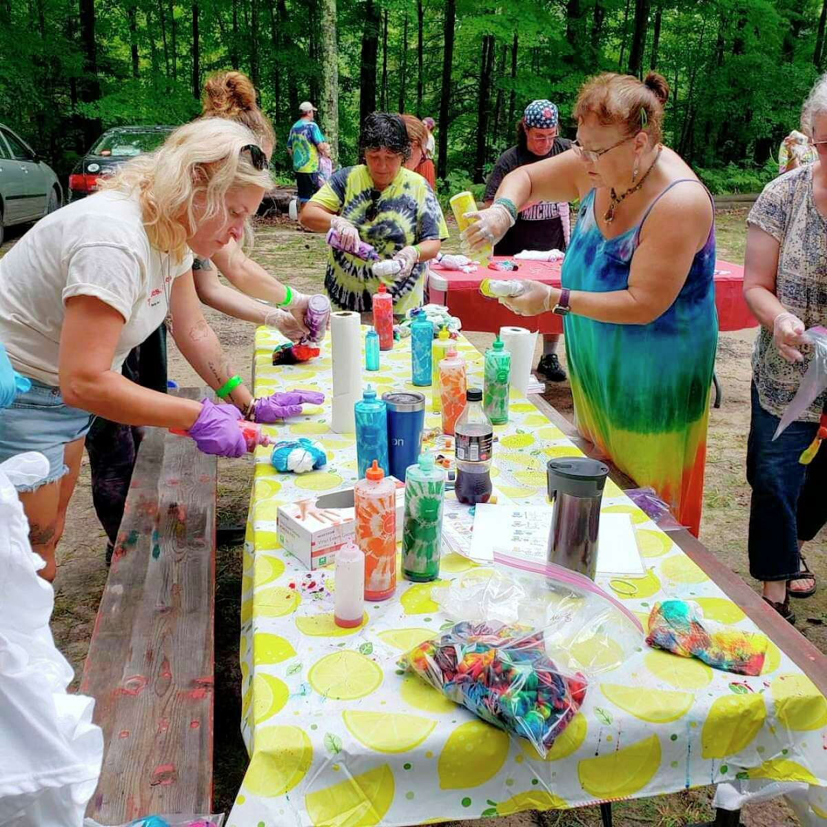 The Forest Trail Music Festival in Free Soil featured withlive folk, bluegrass, Americana roots music performances as well as activities like a tie-dye station where attendees could make their own tie-dyed clothing. (Arielle Breen/News Advocate)