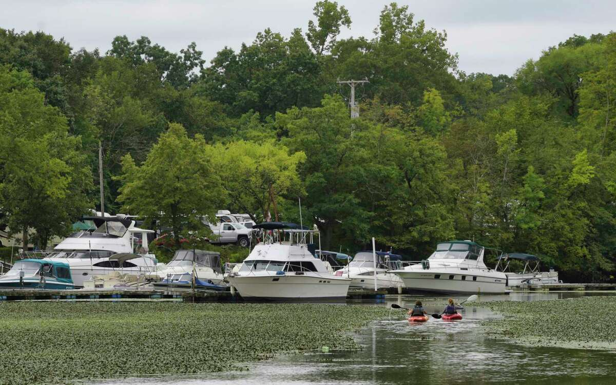 Kayakers paddle along the Mohawk River on Sunday, Aug. 29, 2021, in Halfmoon, N.Y. State Police had to chase a Voorheesville man on the Mohawk River in September 2021 who had arrived at a landing in Rotterdam to allegedly have sex with a 14-year-old.