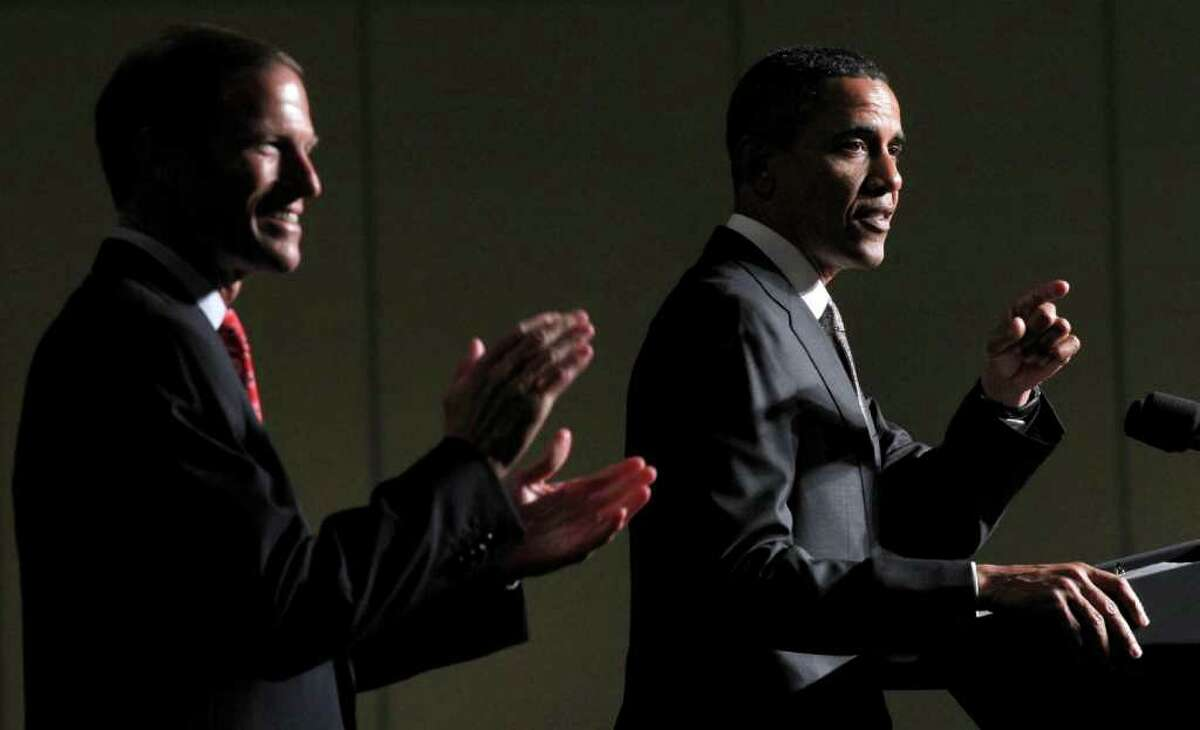 President Barack Obama, right, with Connecticut Attorney General and Democratic candidate for US Senate Richard Blumenthal, left, during a fundraiser in Stamford, Conn., Thursday, Sept. 16, 2010.