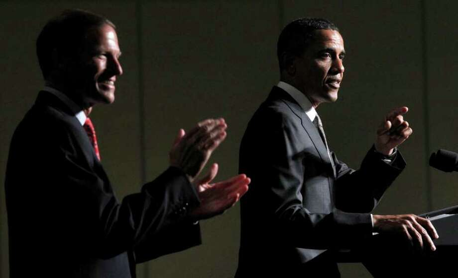 President Barack Obama, right, with Connecticut Attorney General and Democratic candidate for US Senate Richard Blumenthal, left, during a fundraiser in Stamford, Conn., Thursday, Sept. 16, 2010. Photo: Pablo Martinez Monsivais, AP Photo/Pablo Martinez Monsivais / AP