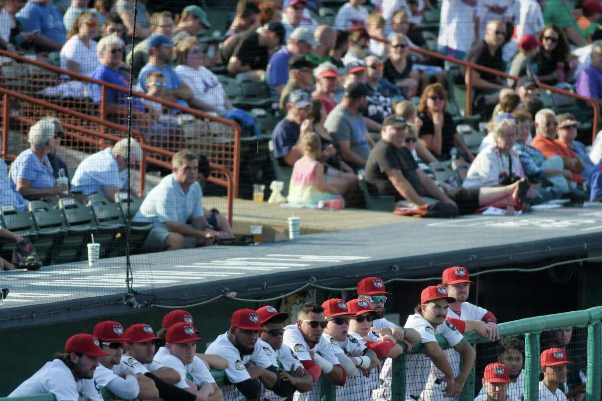 ValleyCats players watch from the dugout during their game against Sussex County Miners on Sunday, Aug. 29, 2021, in Troy, N.Y.