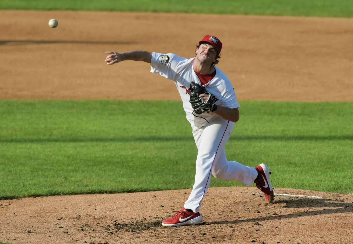 Josh Hiatt, pitcher for the ValleyCats, delivers a pitch during their game against Sussex County Miners on Sunday, Aug. 29, 2021, in Troy, N.Y.