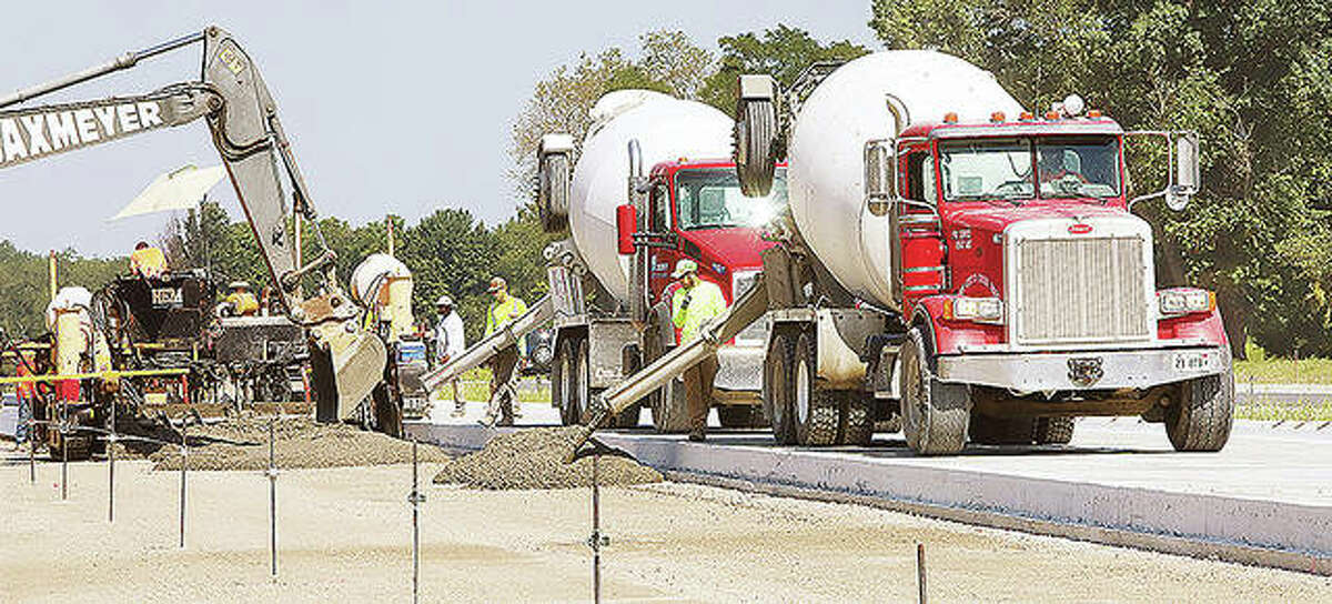 Concrete is poured for the new Delhi Bypass being constructed in Jersey County.