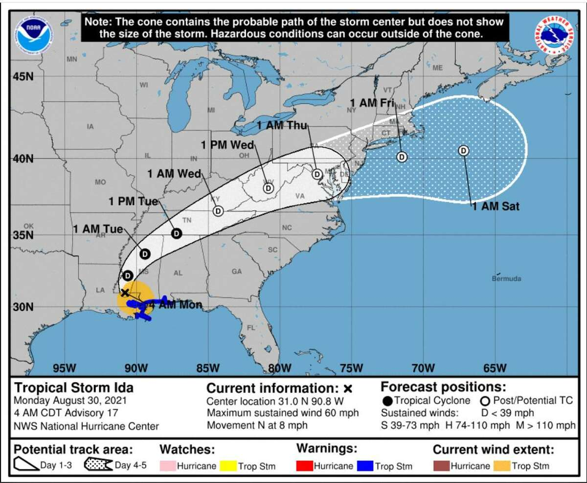 Ida's predicted path as of Monday morning, Aug. 30, 2021